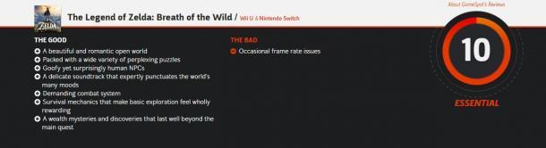 神作!《塞尔达传说:荒野之息》IGN满分10分