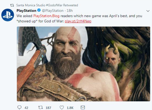 《战神4》荣获4月PS玩家选择奖 压倒性优势无悬念