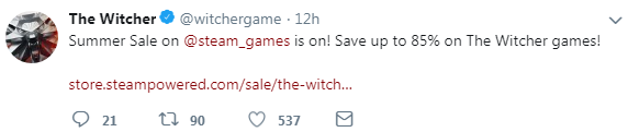 《巫师3》官推分享Steam夏季优惠 系列低至1.5折