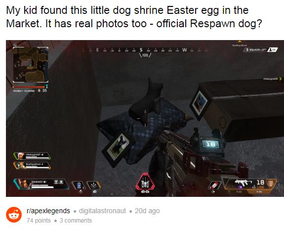 不夹带非游戏!眼尖玩家挖出《Apex英雄》游戏中设计师死去的狗