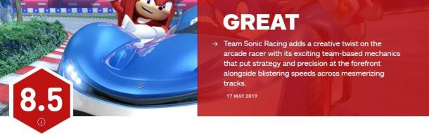 《团队索尼克赛车》媒体分解禁经典IP大翻身 IGN 8.5分