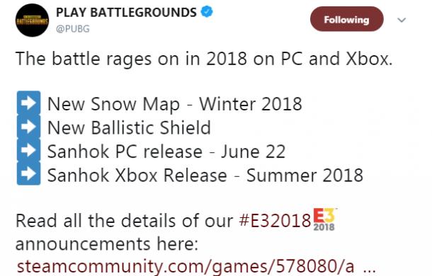E3:《绝地求生》新地图Sanhok上线日期确认