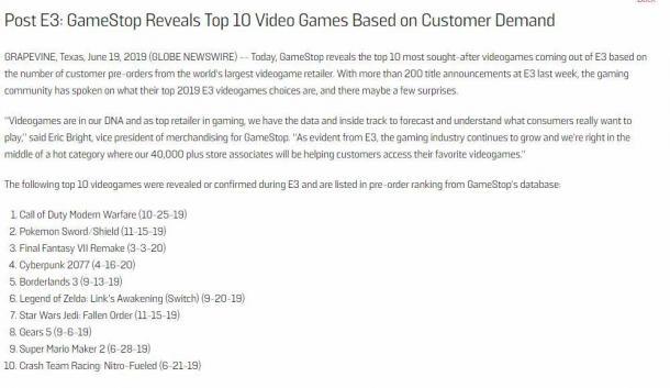《COD》不愧年貨王 全球最大零售商E3期間游戲預購量前十榜單