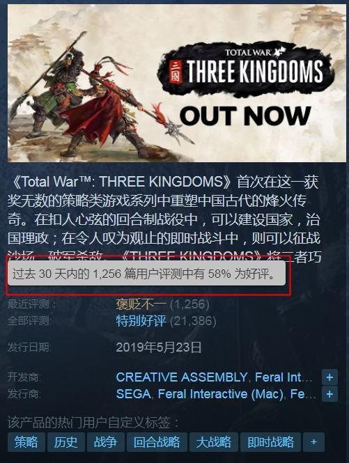 《全面戰爭:三國》近日突增大量差評