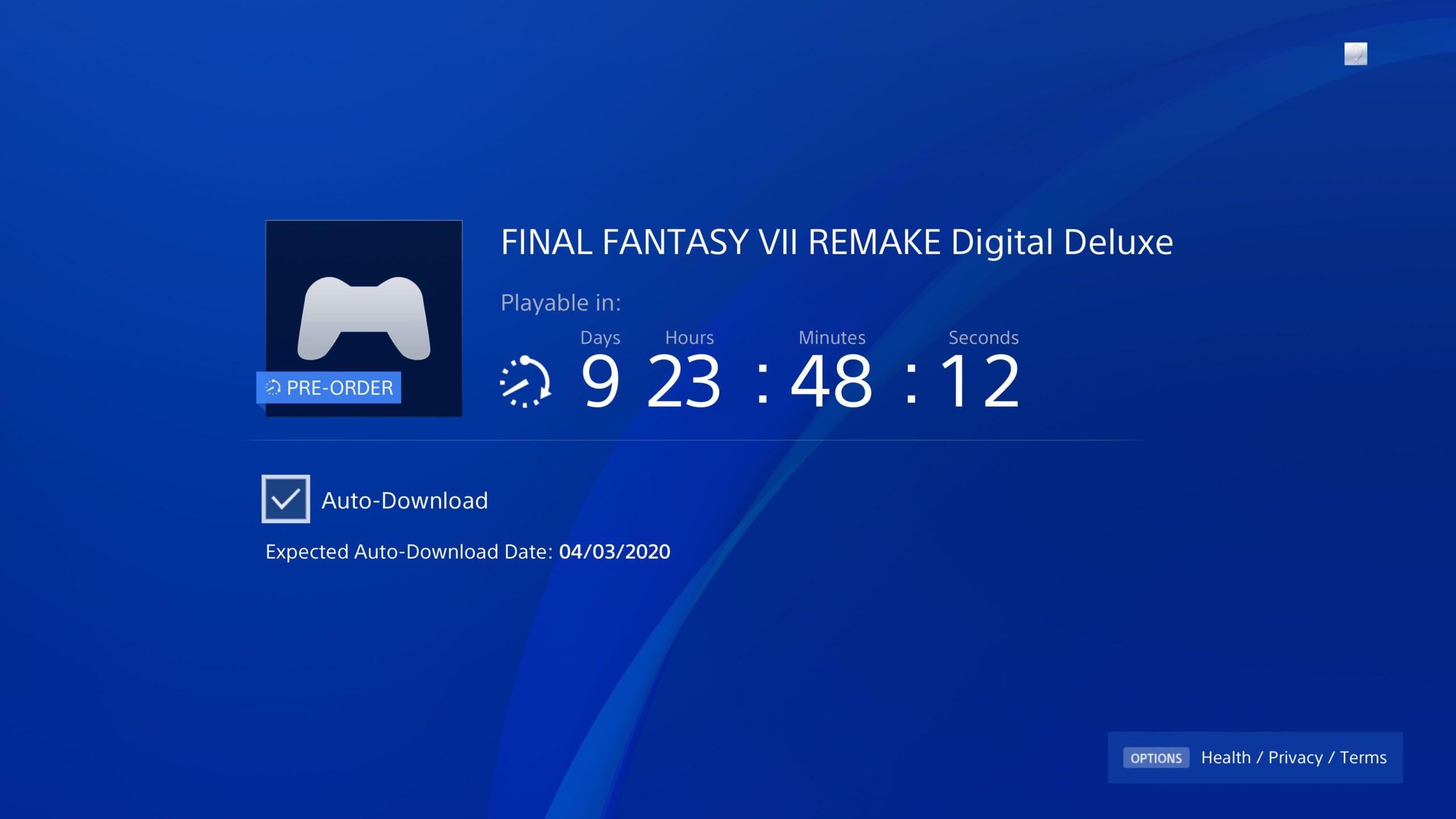 《最終幻想7:重制版》預載提前至4月3日 數字版或提前