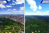 《微软飞行模拟》画面与现实场景对比视频 真…