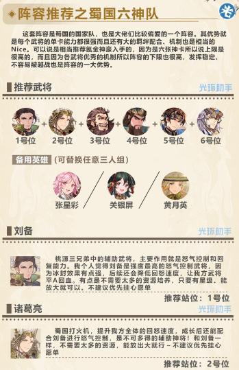 三国志幻想大陆蜀国国家队搭配推荐