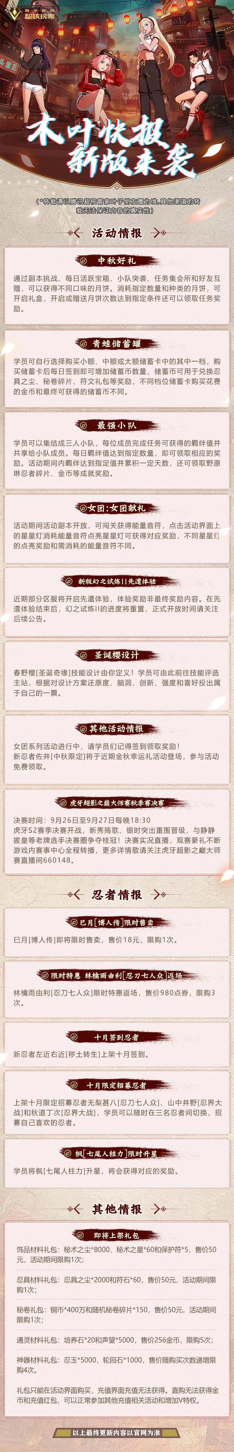 火影忍者手游9月24日木叶快报一览 最新木叶快报分享