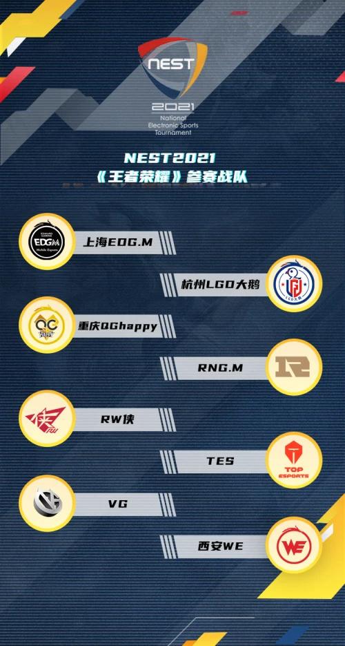 虎牙独播NEST2021王者荣耀火热来袭 重庆QG领衔KPL职业战队打响巅峰对决
