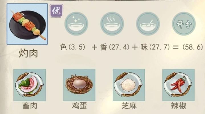 江湖悠悠灼肉食谱配方一览