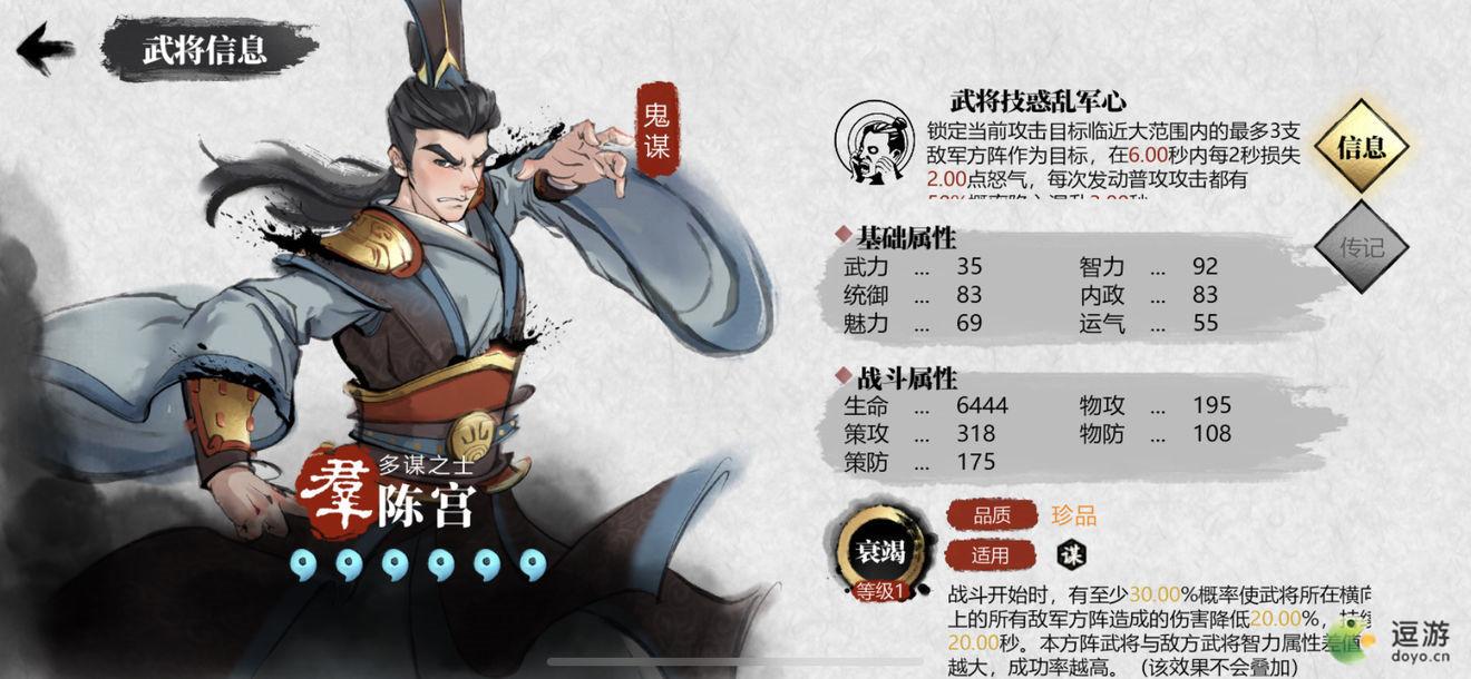 小小五千年陈宫强度分析及培养建议
