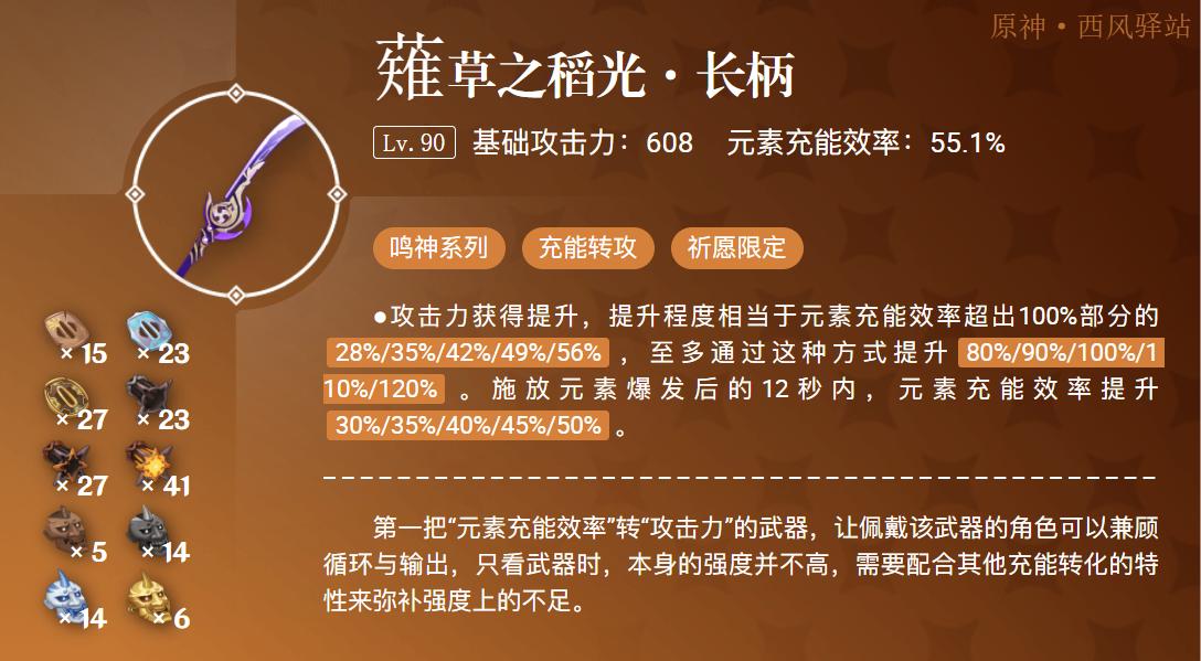 原神薙草之稻光武器强度分析评测